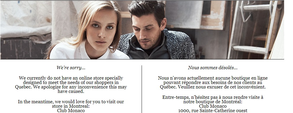 Club Monaco Home Page in Quebec is unavailable.