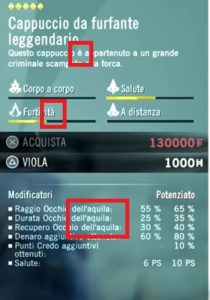Italian translations of the Assassin's Creed items interface.