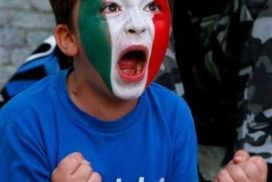 Italian fan shows passion for his football team.