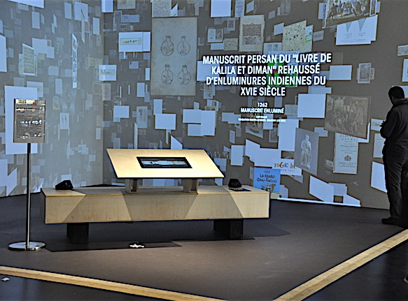 The MuCem in France has an exhibition dedicated to translation history. Photo from an exhibition room.